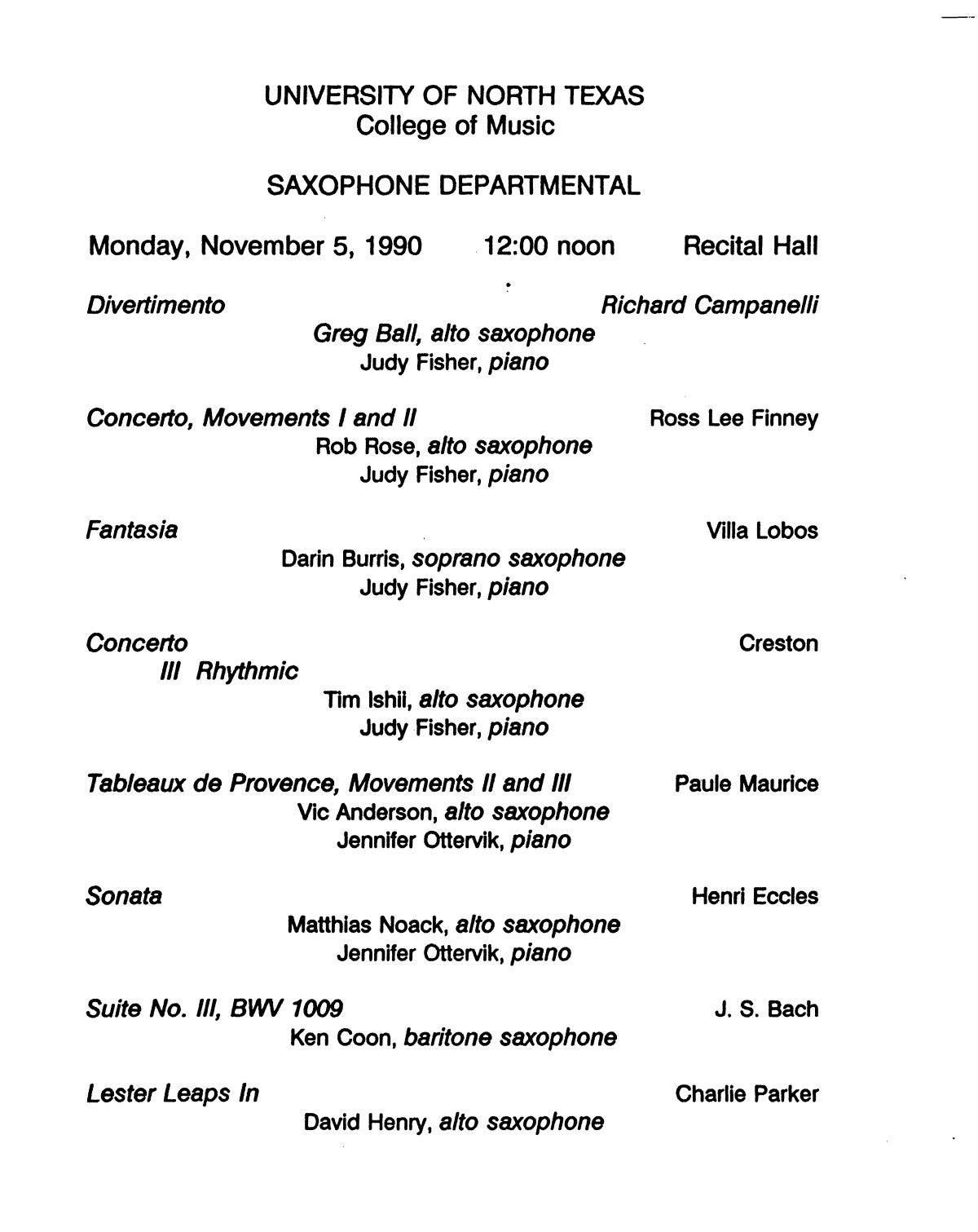 College Of Music Program Book 1990 1991 Vol 2 Page 94 Of 417