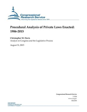 Primary view of object titled 'Procedural Analysis of Private Laws Enacted: 1986-2015'.