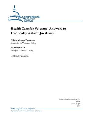 Primary view of object titled 'Health Care for Veterans: Answers to Frequently Asked Questions'.