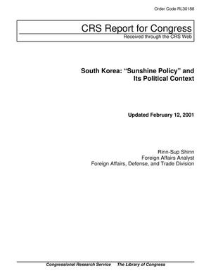 "Primary view of object titled 'South Korea: ""Sunshine Policy"" and Its Political Context'."