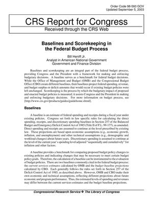 Primary view of object titled 'Baselines and Scorekeeping in the Federal Budget Process'.