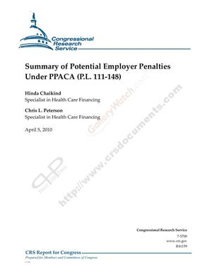 Primary view of object titled 'Summary of Potential Employer Penalties Under PPACA (P.L. 111-148)'.