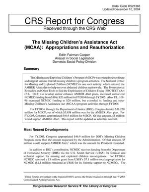 Primary view of object titled 'The Missing Children's Assistance Act (MCAA): Appropriations and Reauthorization'.