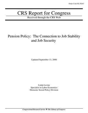 Primary view of object titled 'Pension Policy: The Connection to Job Stability and Job Security'.