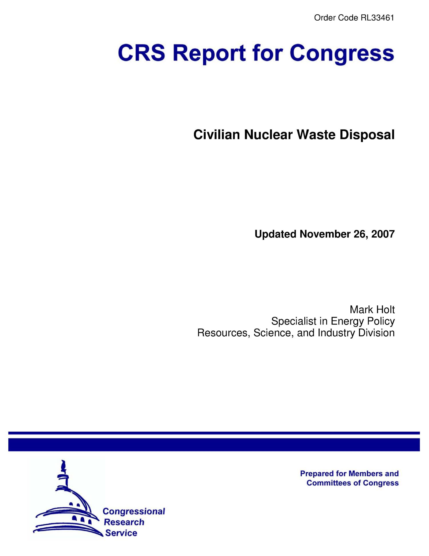 Civilian Nuclear Waste Disposal                                                                                                      [Sequence #]: 1 of 24