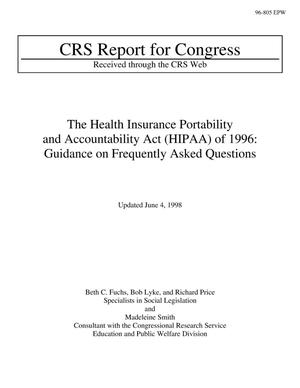 Primary view of object titled 'The Health Insurance Portability and Accountability Act (HIPAA) of 1996: Guidance on Frequently Asked Questions'.