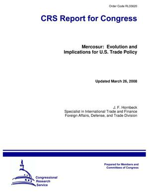 Primary view of object titled 'Mercosur: Evolution and Implications for U.S. Trade Policy'.