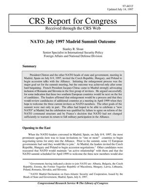 Primary view of object titled 'NATO: July 1997 Madrid Summit Outcome'.