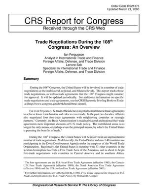 Primary view of object titled 'Trade Negotiations During the 108th Congress: An Overview'.