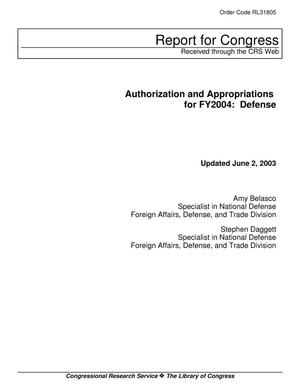 Primary view of object titled 'Authorization and Appropriations for FY2004: Defense'.