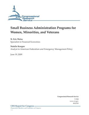 Primary view of object titled 'Small Business Administration Programs for Women, Minorities, and Veterans'.
