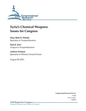 Primary view of object titled 'Syria's Chemical Weapons: Issues for Congress'.