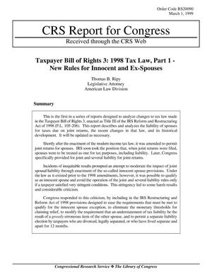 Primary view of object titled 'Taxpayer Bill of Rights 3: 1998 Tax Law, Part 1 New Rules for Innocent and Ex-Spouses'.