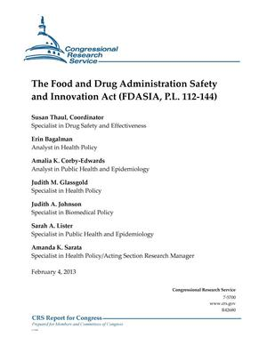 Primary view of object titled 'The Food and Drug Administration Safety and Innovation Act (FDASIA, P.L. 112-144)'.
