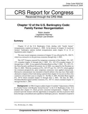 Primary view of object titled 'Chapter 12 of the U.S. Bankruptcy Code: Family Farmer Reorganization'.