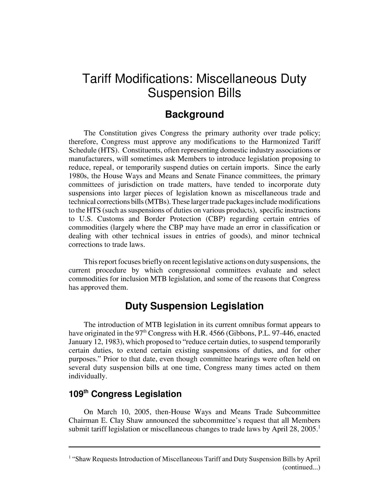 Tariff Modifications: Miscellaneous Duty Suspension Bills                                                                                                      [Sequence #]: 4 of 13