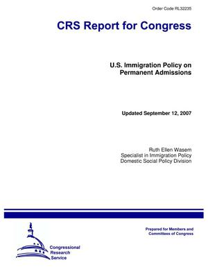 Primary view of object titled 'U.S. Immigration Policy on Permanent Admissions'.