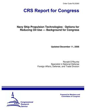 Primary view of object titled 'Navy Ship Propulsion Technologies: Options for Reducing Oil Use — Background for Congress'.