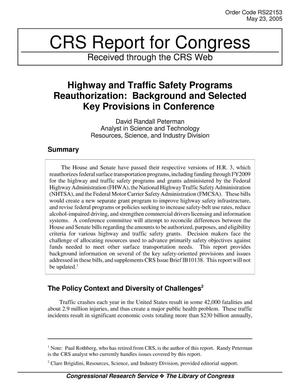 Primary view of object titled 'Highway and Traffic Safety Programs Reauthorization: Background and Selected Key Provisions in Conference'.