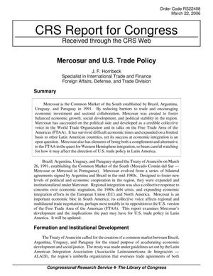 Primary view of object titled 'Mercosur and U.S. Trade Policy'.