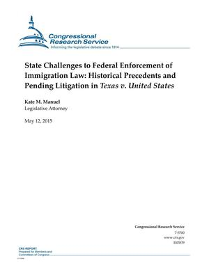 Primary view of object titled 'State Challenges to Federal Enforcement of Immigration Law: Historical Precedents and Pending Litigation in Texas v. United States'.