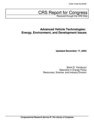 Primary view of object titled 'Advanced Vehicle Technologies: Energy, Environment, and Development Issues'.