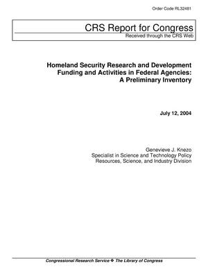 Primary view of object titled 'Homeland Security Research and Development Funding Activities in Federal Agencies: A Preliminary Inventory'.