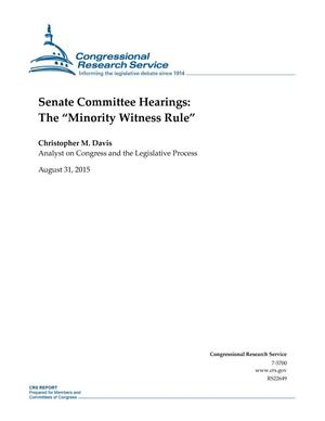 "Primary view of object titled 'Senate Committee Hearings: The ""Minority Witness Rule""'."