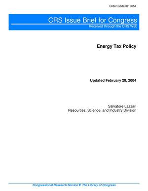 Primary view of object titled 'Energy Tax Policy'.