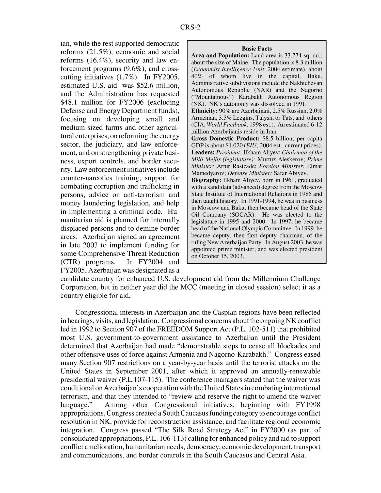 Azerbaijan: Recent Developments and U.S. Interests                                                                                                      [Sequence #]: 2 of 6