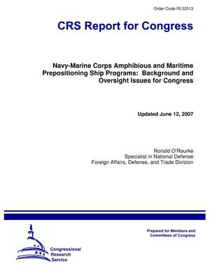 Primary view of object titled 'Navy-Marine Corps Amphibious and Maritime Prepositioning Ship Programs: Background and Oversight Issues for Congress'.