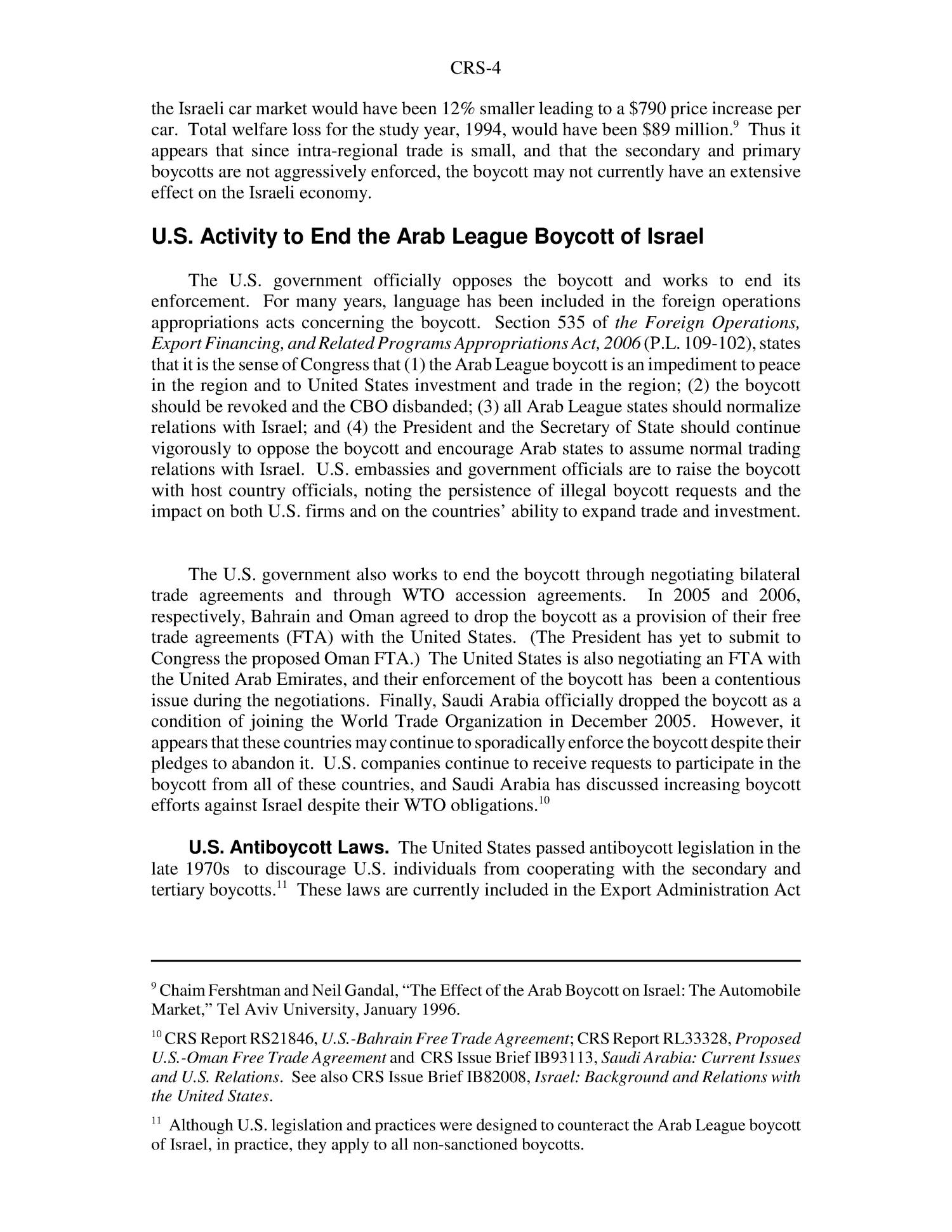 Arab League Boycott of Israel                                                                                                      [Sequence #]: 4 of 6