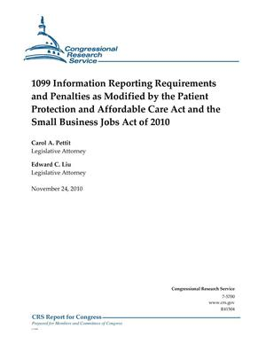 Primary view of object titled '1099 Information Reporting Requirements and Penalties as Modified by the Patient Protection and Affordable Care Act and the Small Business Jobs Act of 2010'.