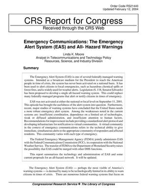 Primary view of object titled 'Emergency Communications: The Emergency Alert System (EAS) and All- Hazard Warnings'.