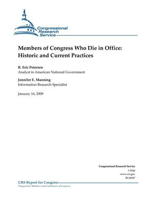Primary view of object titled 'Members of Congress Who Die in Office: Historic and Current Practices'.