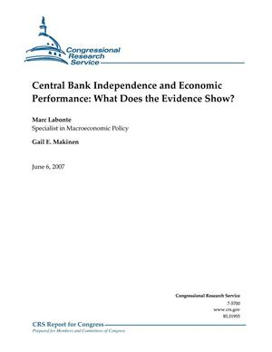 Primary view of object titled 'Central Bank Independence and Economic Performance: What Does the Evidence Show?'.