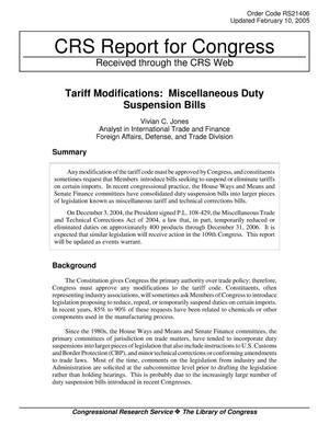 Primary view of object titled 'Tariff Modifications: Miscellaneous Duty Suspension Bills'.