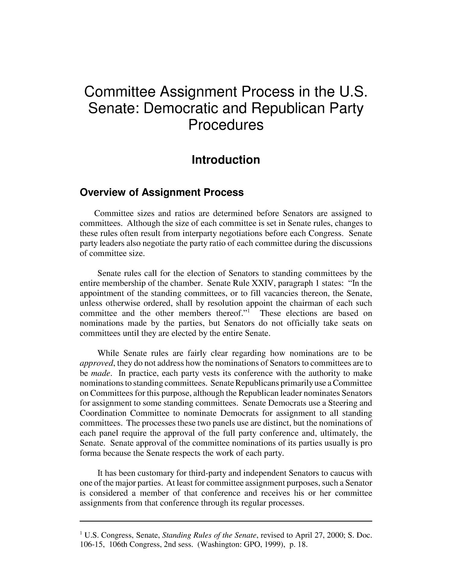 Committee Assignment Process in the U.S. Senate: Democratic and Republican Party Procedures                                                                                                      [Sequence #]: 4 of 15