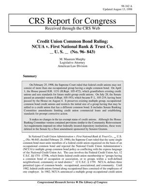 Primary view of object titled 'Credit Union Common Bond Ruling: NCUA v. First National Bank & Trust Co. U. S. (No. 96- 843)'.