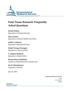 Primary view of object titled 'Fetal Tissue Research: Frequently Asked Questions'.