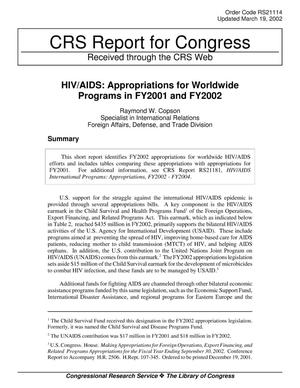 Primary view of object titled 'HIV/AIDS: Appropriations for Worldwide Programs in FY2001 and FY2002'.