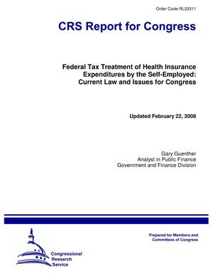 Primary view of object titled 'Federal Tax Treatment of Health Insurance Expenditures by the Self-Employed: Current Law and Issues for Congress'.