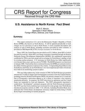 Primary view of object titled 'U.S. Assistance to North Korea: Fact Sheet'.