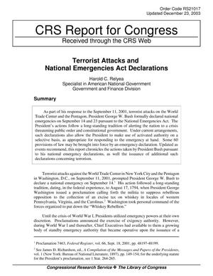 Primary view of object titled 'Terrorist Attacks and National Emergencies Act Declarations'.