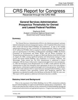 Primary view of object titled 'General Services Administration Prospectus Thresholds for Owned and Leased Federal Facilities'.