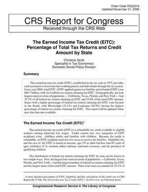 Primary view of object titled 'The Earned Income Tax Credit (EITC): Percentage of Total Tax Returns and Credit Amount by State'.
