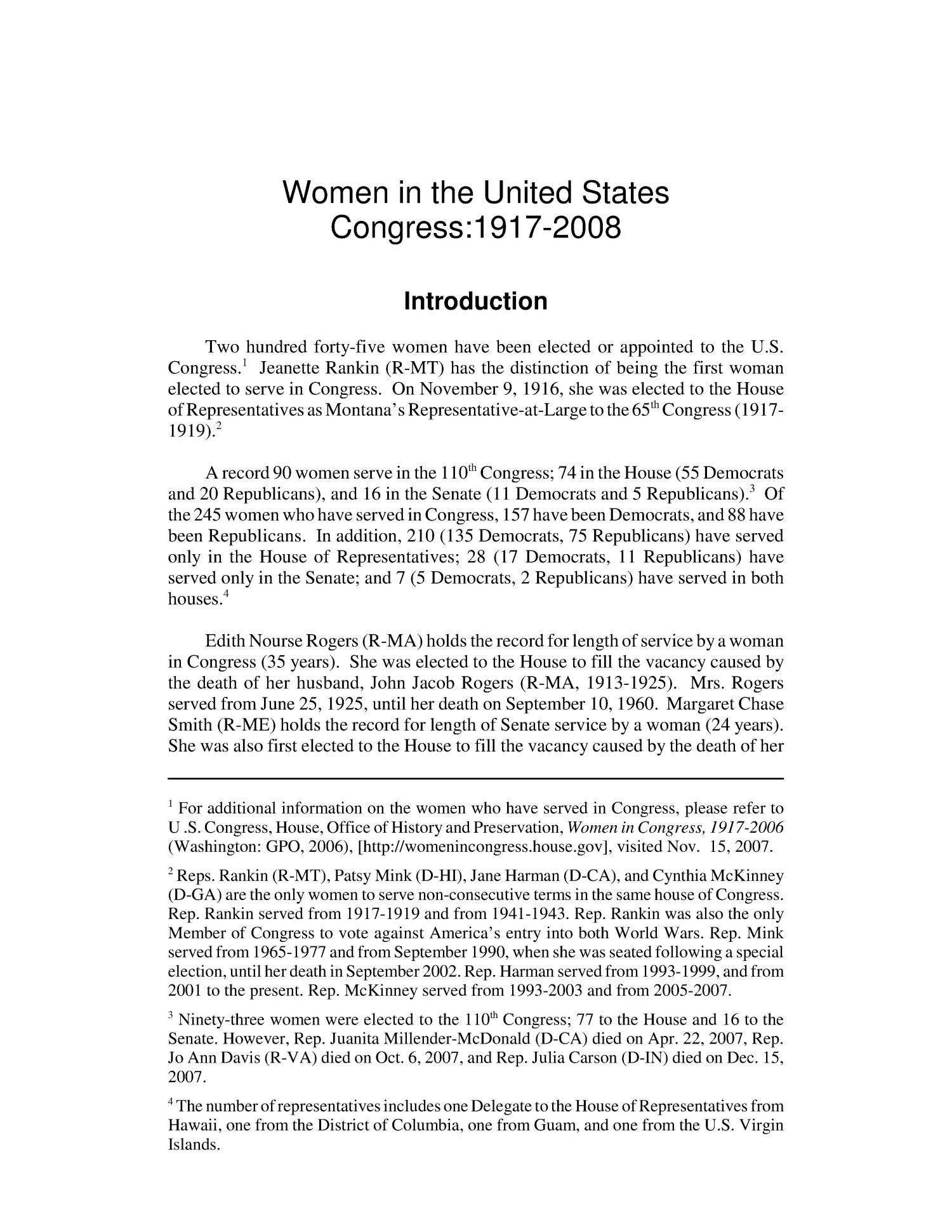 Women in the United States Congress: 1917-2008                                                                                                      [Sequence #]: 4 of 100