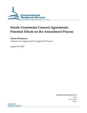 Primary view of object titled 'Senate Unanimous Consent Agreements: Potential Effects on the Amendment Process'.
