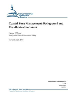 Primary view of object titled 'Coastal Zone Management: Background and Reauthorization Issues'.