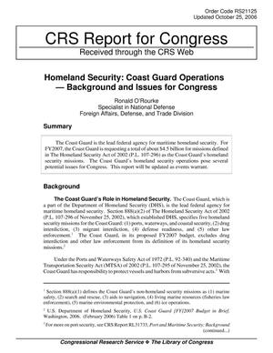 Primary view of object titled 'Homeland Security: Coast Guard Operations — Background and Issues for Congress'.